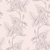 Rose seamless flower background, vector illustration.