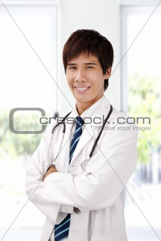 Asian young doctor with stethoscope