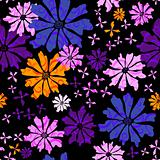 Floral seamless black pattern