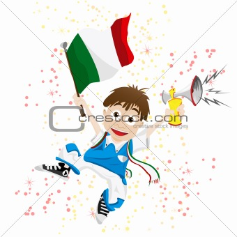 Italy Sport Fan with Flag and Horn