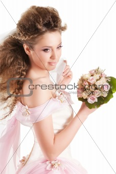 Beautiful woman dressed as a bride