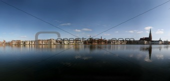 Panorama of lake Pfaffenteich in Schwerin, Germany