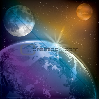 abstract background with earth moon and mars