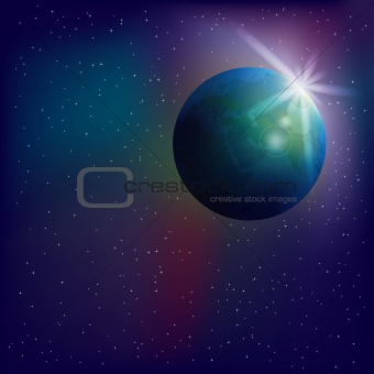 Abstract space background with globe