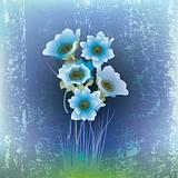 abstract cracked illustration with blue flowers