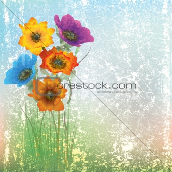 abstract cracked illustration with flowers