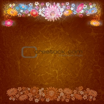 abstract grunge background with color flowers