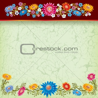 abstract grunge green background with color flowers