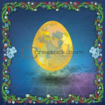abstract grunge illustration with easter egg
