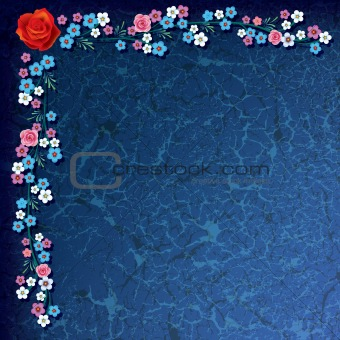 abstract grunge illustration with flowers on blue background