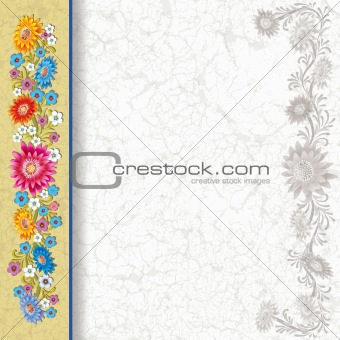abstract grunge white background with color flowers