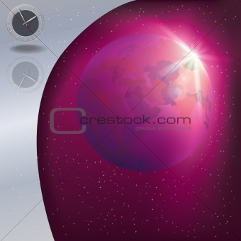 abstract illustration with clock and globe
