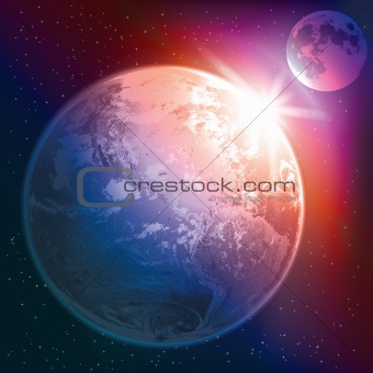abstract illustration with earth and moon