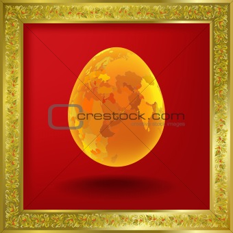 abstract illustration with easter egg on red