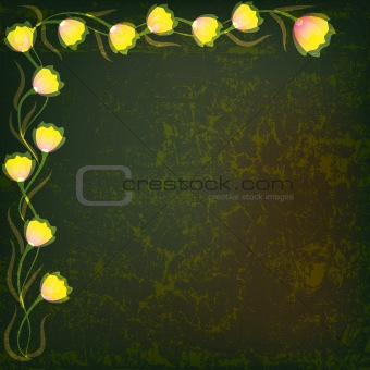 abstract illustration with yellow flowers