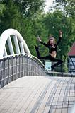woman happy and jumping