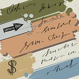 Colorful ink splash banner with sketch arrow and dollar, vector 