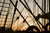 Ship's rigging in the sunset