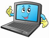 Cartoon smiling laptop