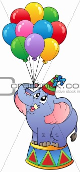 Circus elephant with balloons 1