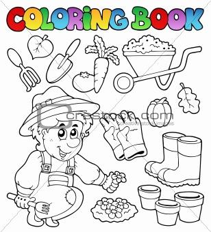 Coloring book with garden theme
