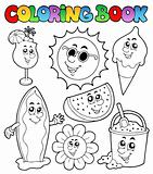Coloring book with summer pictures