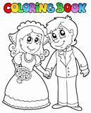 Coloring book with wedding couple