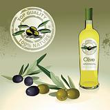 Olive oil bottle, label and olives