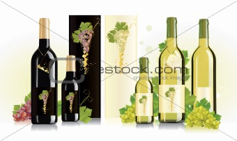 Packaging design - collection of packages for white and red wine