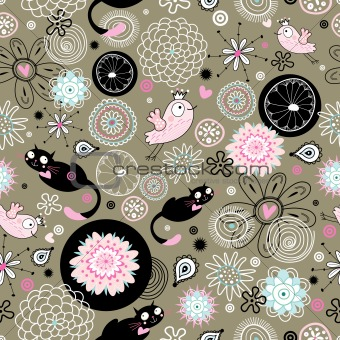 a pattern of flowers and cats, birds