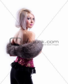 blonde in corset and fur boa