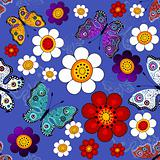 Dark blue floral seamless pattern