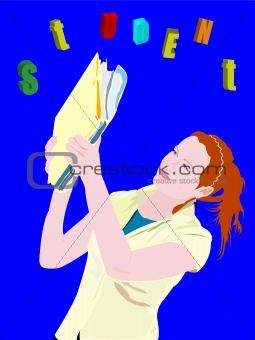 redhead young woman student illustration