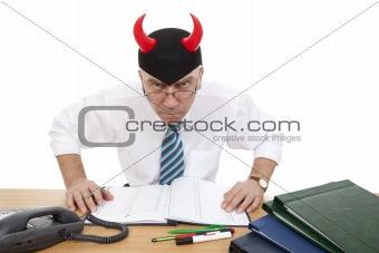 clerk wearing horned