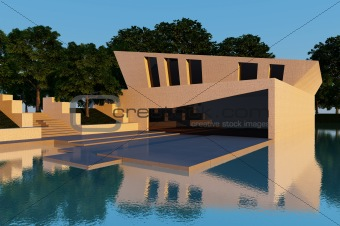 Modern villa sunset