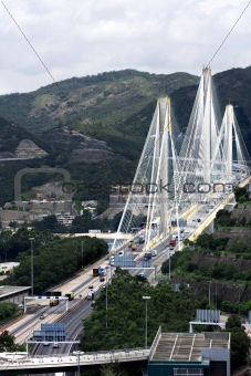 Ting Kau Bridge. Cable-stayed bridge in Hong Kong