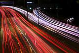 Night highway (Cars in a rush moving fast on a highway (speedway)