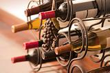 Wine bottles, red and white