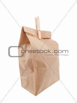 Old style paper lunch bag closed