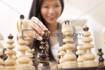 Beautiful Chinese Oriental Asian Woman Playing Chess
