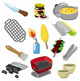 cartoon barbeque party tool icon