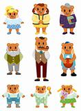 cartoon bear family icon