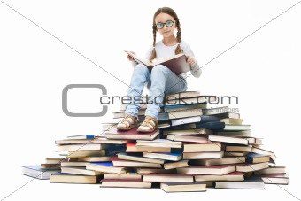 Pupil on books