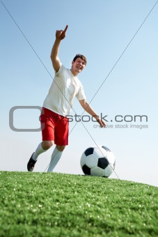 Footballer during play