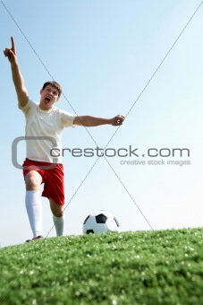 Footballer screaming