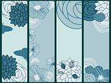 vector abstract floral banners with flowers and butterflies,