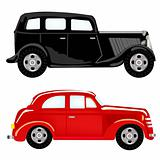 Two cars black and red colour
