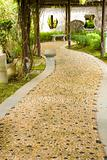 Stone walkway winding in garden