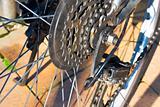 Close up shot of the bike parts