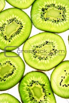 Sliced Kiwifruit isolated on white studio shot